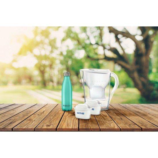 Промоционален пакет BRITA Marella Cool Memo филтрираща кана за вода бяла - пакет 2 филтъра - и термо бутилка